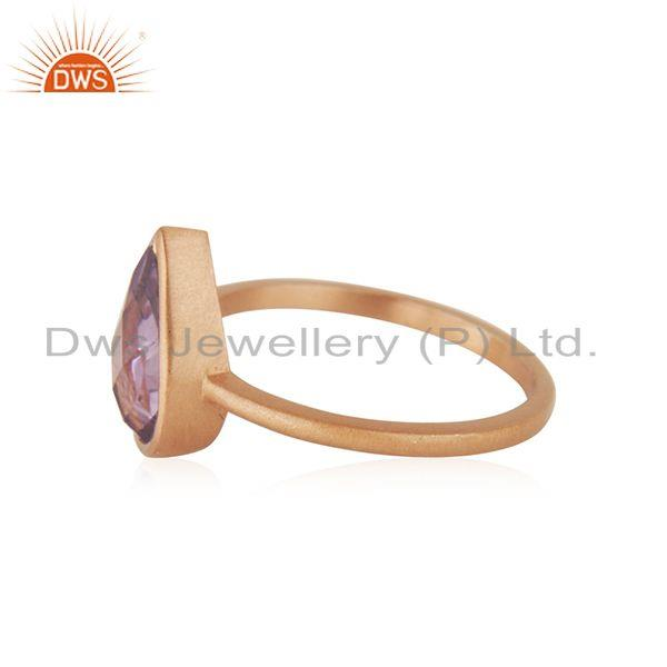 Suppliers Natural Amethyst Birthstone Rose GOld Plated Ring Manufacturer India