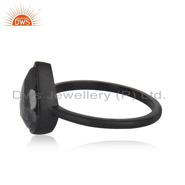 Suppliers Black Rhodium Plated 925 Silver Hematite Gemstone Stackable Ring Wholesale