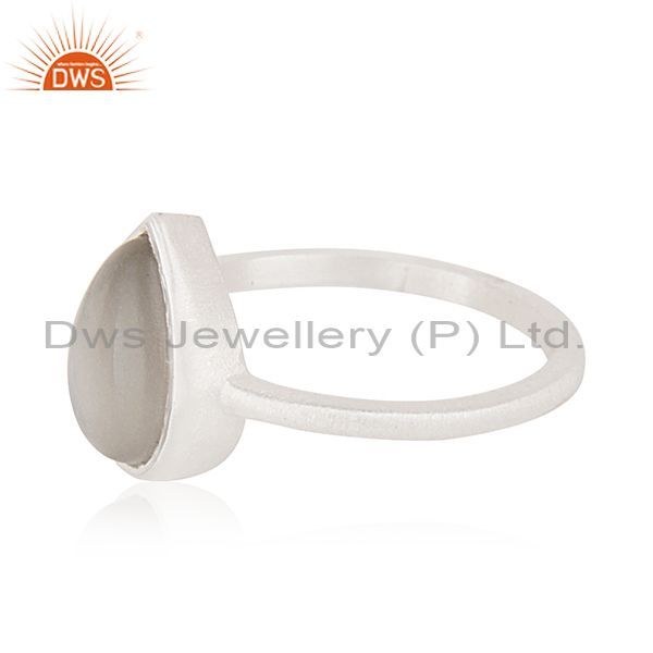 Suppliers Gray Moonstone Handmade 925 Sterling Silver Stackable Ring Manufacturer Jaipur