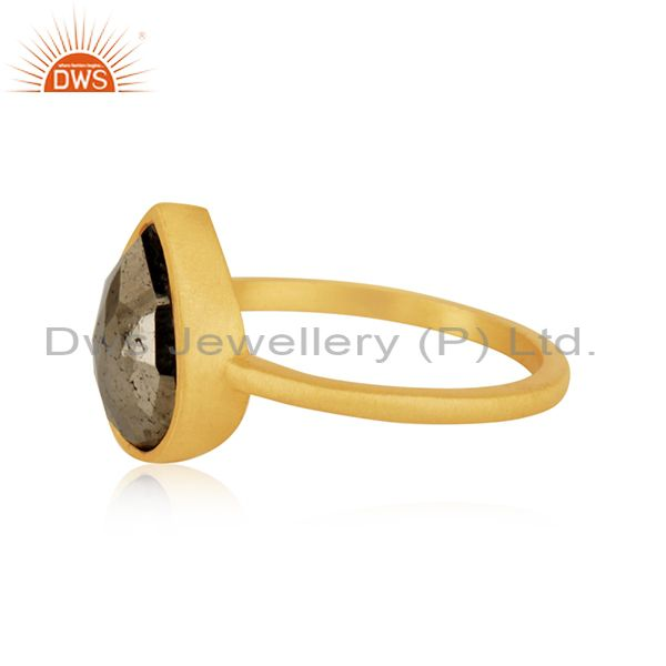 Suppliers 14k Gold Plated Sterling Silver Pyrite Gemstone Ring Manufacturer INdia