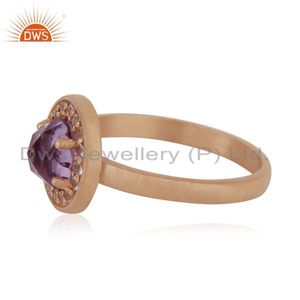 Suppliers Handmade Rose Gold Plated Sterling Silver Birthstone Amethyst Ring Wholesale