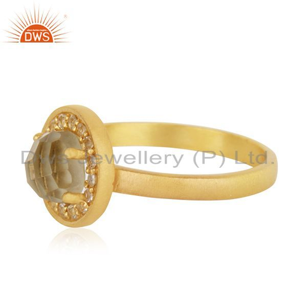 Suppliers Gold Plated 925 Silver Lemon Topaz Gemstone Stackable Ring Manufacturer India