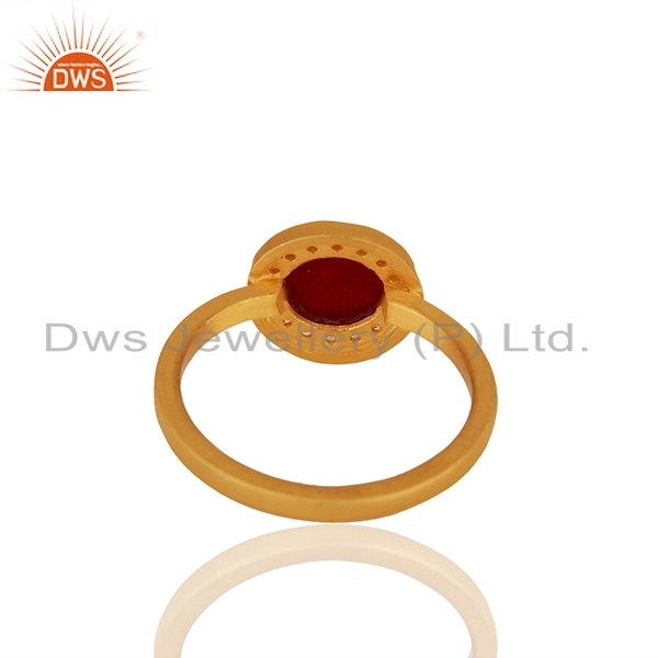 Suppliers White Topaz and Ruby Gemstone 92.5 Silver Gold Plated Rings Jewelry