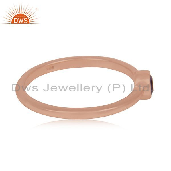 Suppliers Natural Amethyst Gemstone Rose Gold Plated 925 Silver Ring Manufacturer India