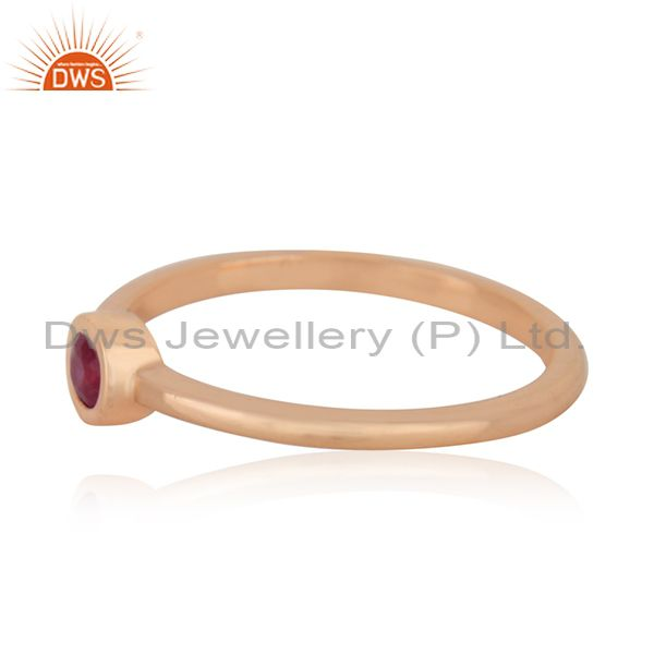 Suppliers Natural Ruby Gemstone 925 Silver Rose Gold Plated Handmade Ring Manufacturer