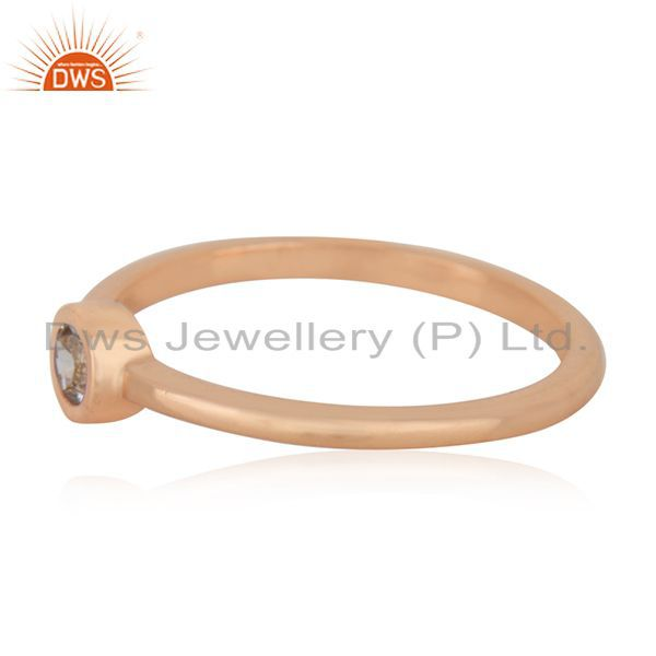 Suppliers White Topaz Rose Gold Plated 92.5 Sterling Silver Handmade Ring Manufacturers
