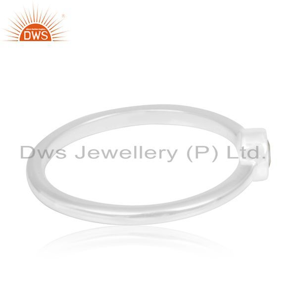 Suppliers 92.5 Sterling Fine Silver White Topaz Gemstone Handmade Rings Manufacturer India