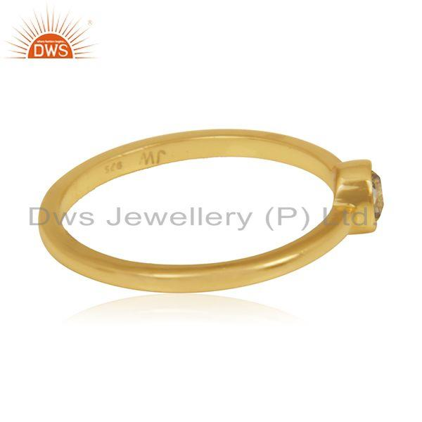 Suppliers White Topaz Gemstone Sterling Silver Gold Plated Handmade Ring Manufacturer