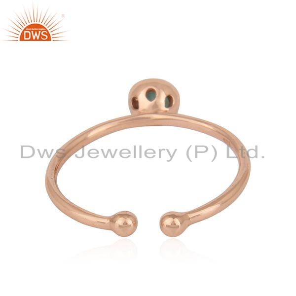 Suppliers Natural Emerald Gemstone Rose Gold Plated Designer Silver Ring Jewelry