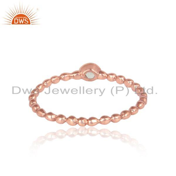 Designer of Textured aqua chacedony solitaire ring in rose gold on silver 925