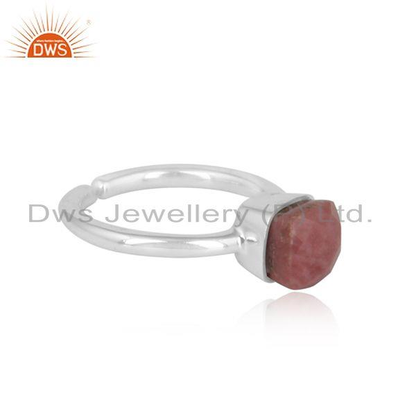 Designer of Designer handmade solitaire sterling silver ring with rhodonite