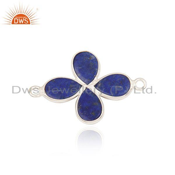 Suppliers Silver Plated Brass Fashion Lapis Lazuli Gemstone Connector Findings