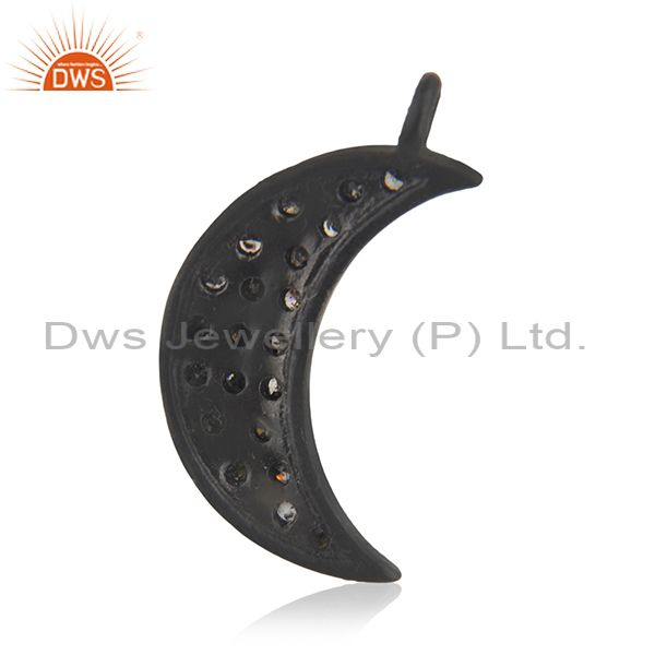 Suppliers Natural Pave Diamond 925 Sterling Silver Crescent Moon Charms Pendant Jewelry