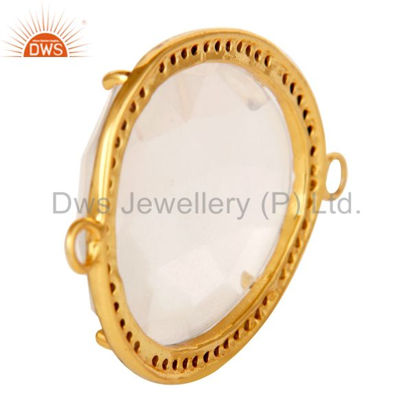 Suppliers Pave Diamond & Crystal Quartz Gemstone Connector In 18K Gold On Sterling Silver