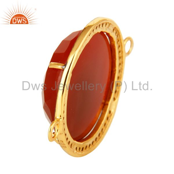 Suppliers Faceted Red Onyx And Pave Diamond 18K Gold Over Sterling Silver Connector Jewelr