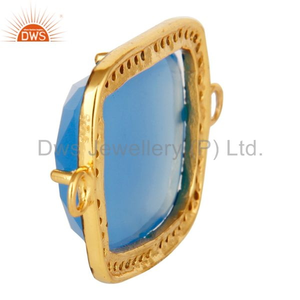 Suppliers 18K Gold Plated Sterling Silver Blue Chalcedony Pave Diamond Gemstone Connector