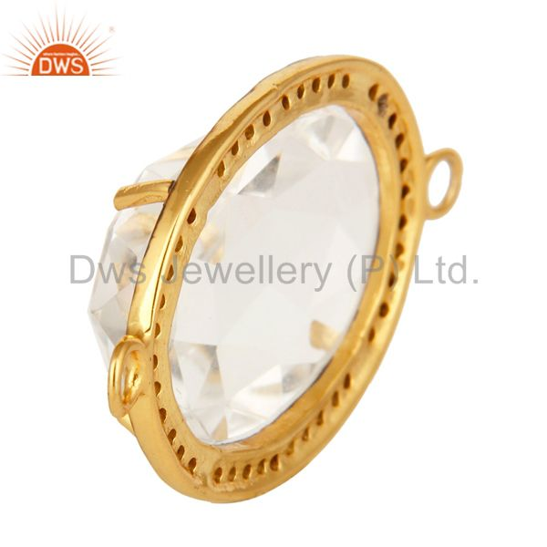 Suppliers Crystal Quartz And Pave Diamond Connector In 18K Gold Over Sterling Silver