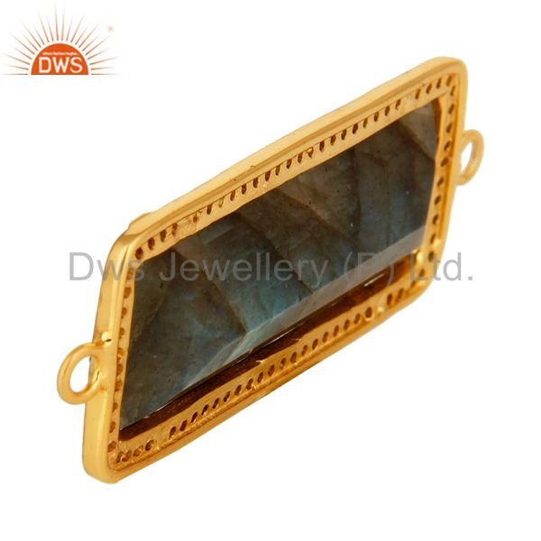 Suppliers 18K Gold Over Sterling Silver Natural Labradorite And Pave Diamond Connector