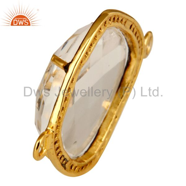 Suppliers 18K Yellow Gold Plated Sterling Silver Crystal Quartz And Pave Diamond Connector