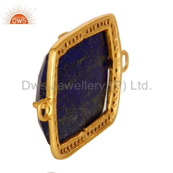 Suppliers Natural Lapis Lazuli Pave Diamond Connector In 18K Gold On Sterling Silver