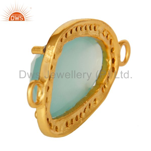 Suppliers 18K Gold Over Sterling Silvrer Dyed Aqua Blue Chalcedony Pave Diamond Connector