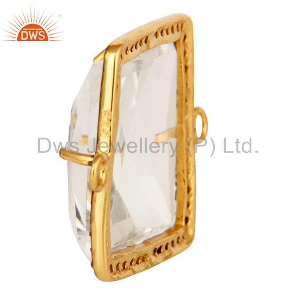 Suppliers Crystal Quartz Sterling Silver Pave Set Diamond Connector Jewelry With Gold Plat