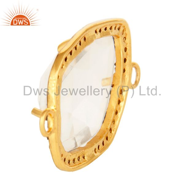 Suppliers Natural Crystal Quartz Pave Diamond Sterling Silver Connector With Gold Plated