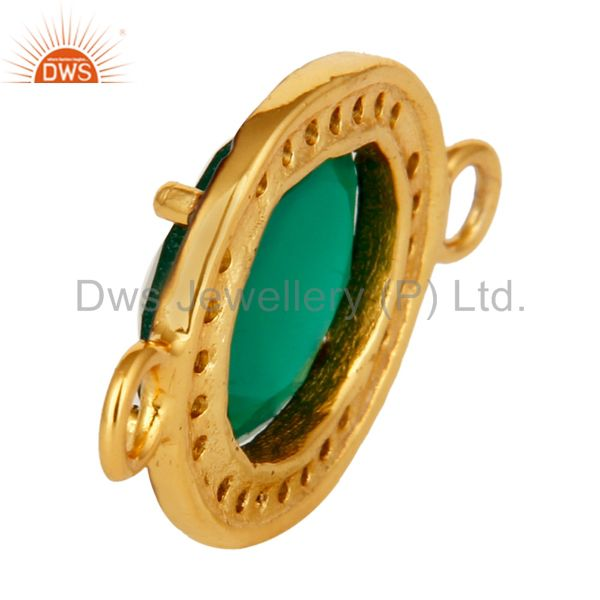 Suppliers 18K Yellow Gold Over Sterling Silver Green Onyx With Pave Diamond Connector