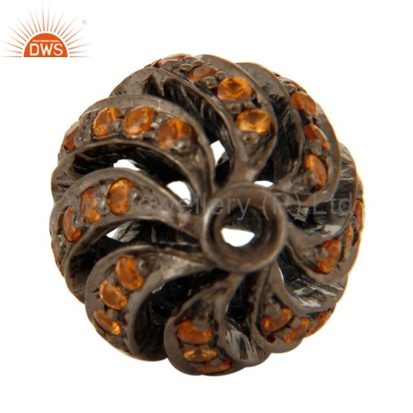 Suppliers Natural Spessartite 925 Sterling Silver Gemstone Ball Beads Findings Jewelry