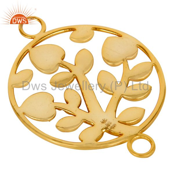 Suppliers 18K Yellow Gold Plated Sterling Silver Textured Floral Charms Connector Jewelry