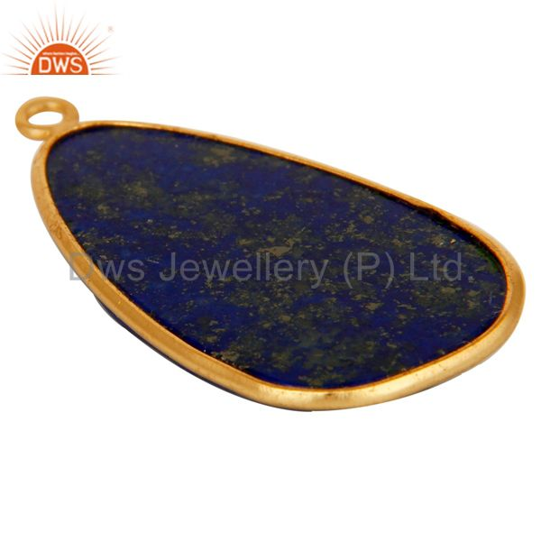 Suppliers Lapis 18K Gold Plated Sterling Silver Bezel Set Charm Pendant