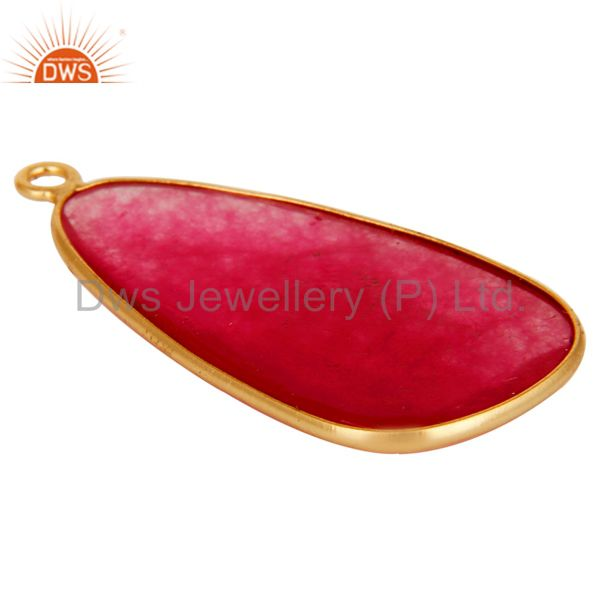 Suppliers Red Aventurine 18K Gold Plated Sterling Silver Bezel Set Charm Pendant