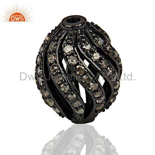 Suppliers Rhodium Plated Silver Pave Diamond Beads Findings Jewelry Supplier