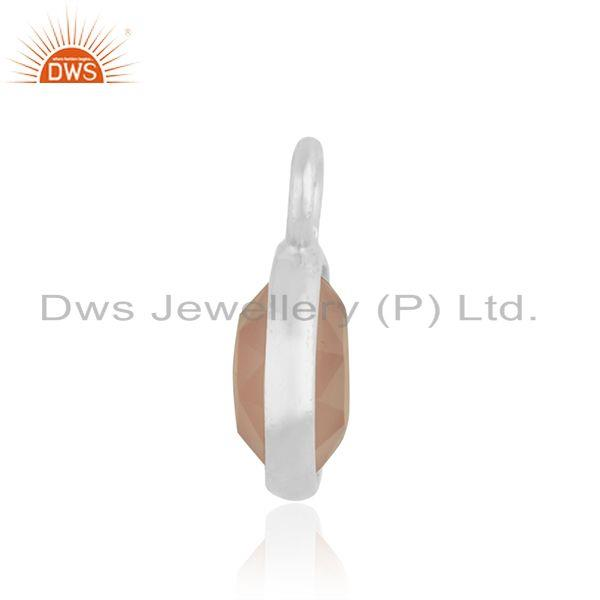 Suppliers Rose Chalcedony Gemstone 925 Sterling Silver Charm Findings Manufacturer INdia