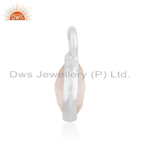 Suppliers Rose Quartz Gemstone Fine Sterling Silver Charm Jewelry Findings Manufacturer
