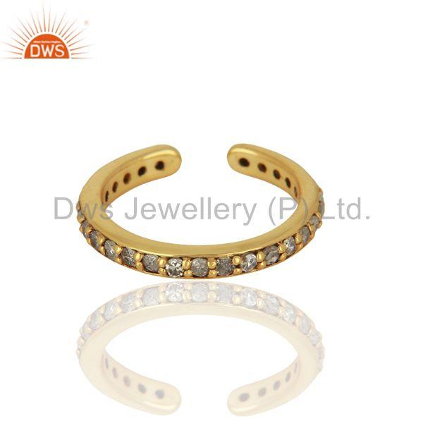 Suppliers Gold Plated Pave Diamond 925 Silver Ring Finding Jewelry Supplier