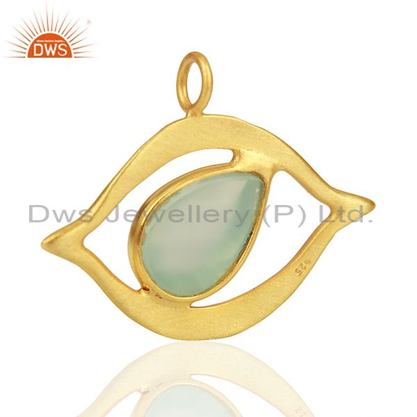 Suppliers Gold Plated 925 Silver Chalcedony Gemstone Charm Jewelry Findings