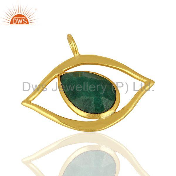 Suppliers Emerald Gemstone Gold Plated 925 Silver Pendant Jewelry Manufacturer