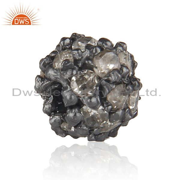 Suppliers 4 mm Diamond Pave Spacer 925 Sterling Silver Ball Bead Finding Vintage Style
