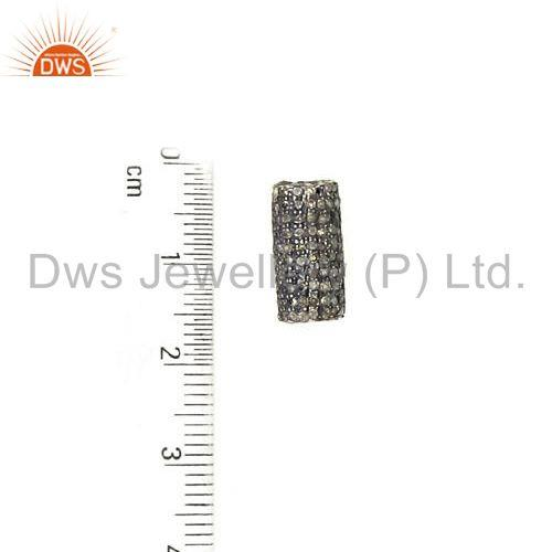 Suppliers 925 Sterling Silver 1.3 Ct Diamond Pave Spacer Finding Handmade Jewelry 13x7 mm