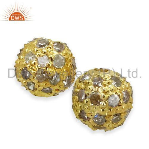 Suppliers 14K Gold Plated Pave Diamond  Bead Spacer Ball Finding Vintage Jewelry 4 MM