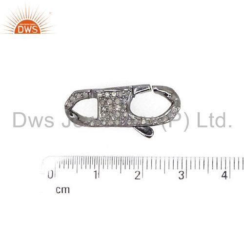 Suppliers New Both Sided Pave Diamond Clasp 925 Silver Spring lobster Lock Finding Jewelry