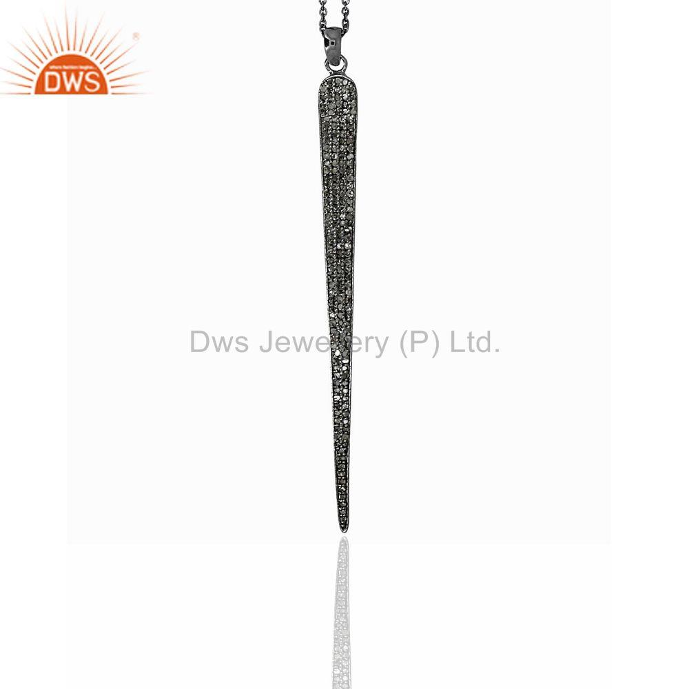 Suppliers Pave Diamond 925 Sterling Silver Fashion Chain Necklace Spike Jewelry Pendant