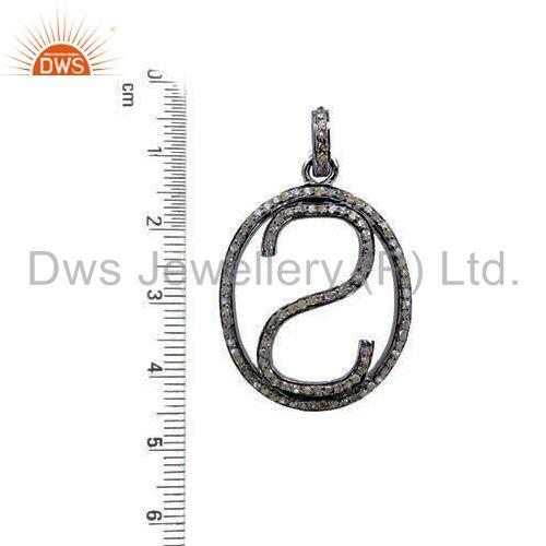 Suppliers Pave Diamond 925 Sterling Silver Alphabet Letter S Initial Pendant Jewelry