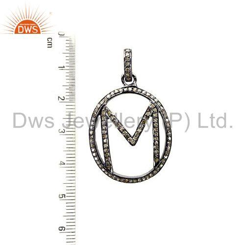 Suppliers Pave Diamond Initial Letter M Alphabet Pendant 925 Sterling Silver Jewelry