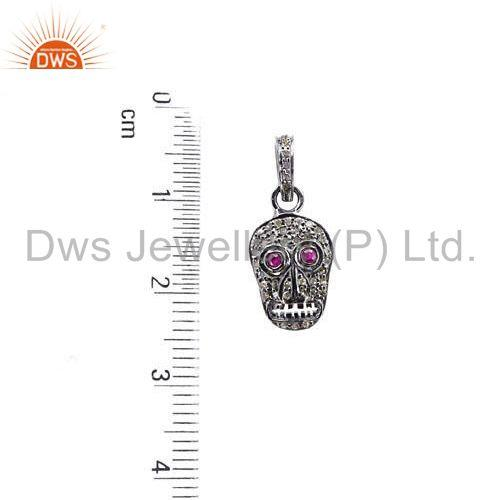 Suppliers Ruby Gemstone Skull Sterling Silver Charm Pendant Diamond Pave Vintage Jewelry