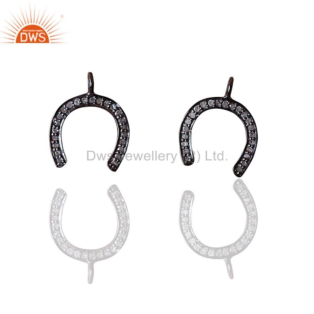 Suppliers HORSE SHOE Charm Pave Diamond Pendant 925 Sterling Silver Handmade Fine Jewelry