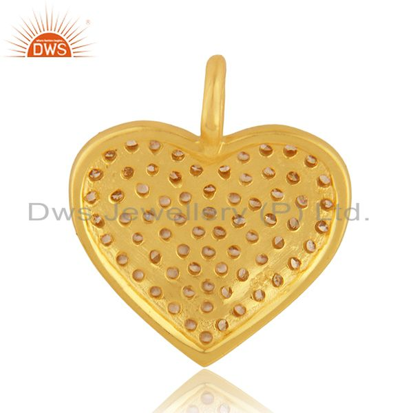 Suppliers Pave Diamond Heart Charm Pendant 92.5 Sterling Silver 14K Gold Plated Jewelry