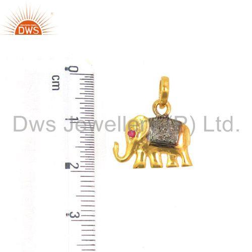 Suppliers Ruby Gemstone Pave Diamond Elephant Charm Pendant 925 Sterling Silver Jewelry