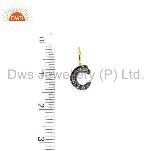 Suppliers Micro Pave Diamond Sterling Silver C Initial Charm Pendant Gold Plated Jewelry